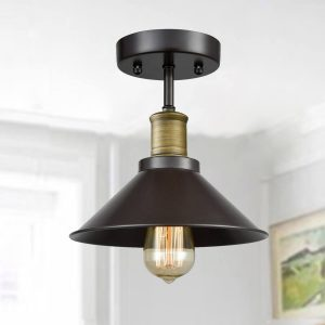 1-Light Mini Rustic Ceiling Lights Oil Rubbed Bronze Finish