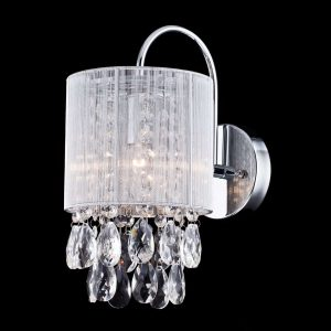 1-Light Modern Crystal Wall Sconces Silver String Shade