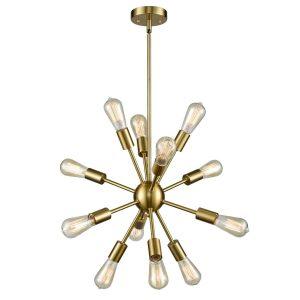 12-Light Modern Brass Sputnik Chandelier