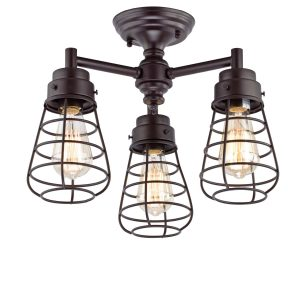 3 Cage Bronze Rustic Semi Flush Ceiling Lights Fixture