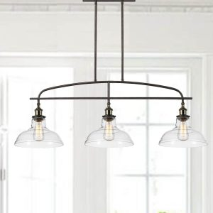 3-Light Glass Kitchen Linear Island Pendant Lighting
