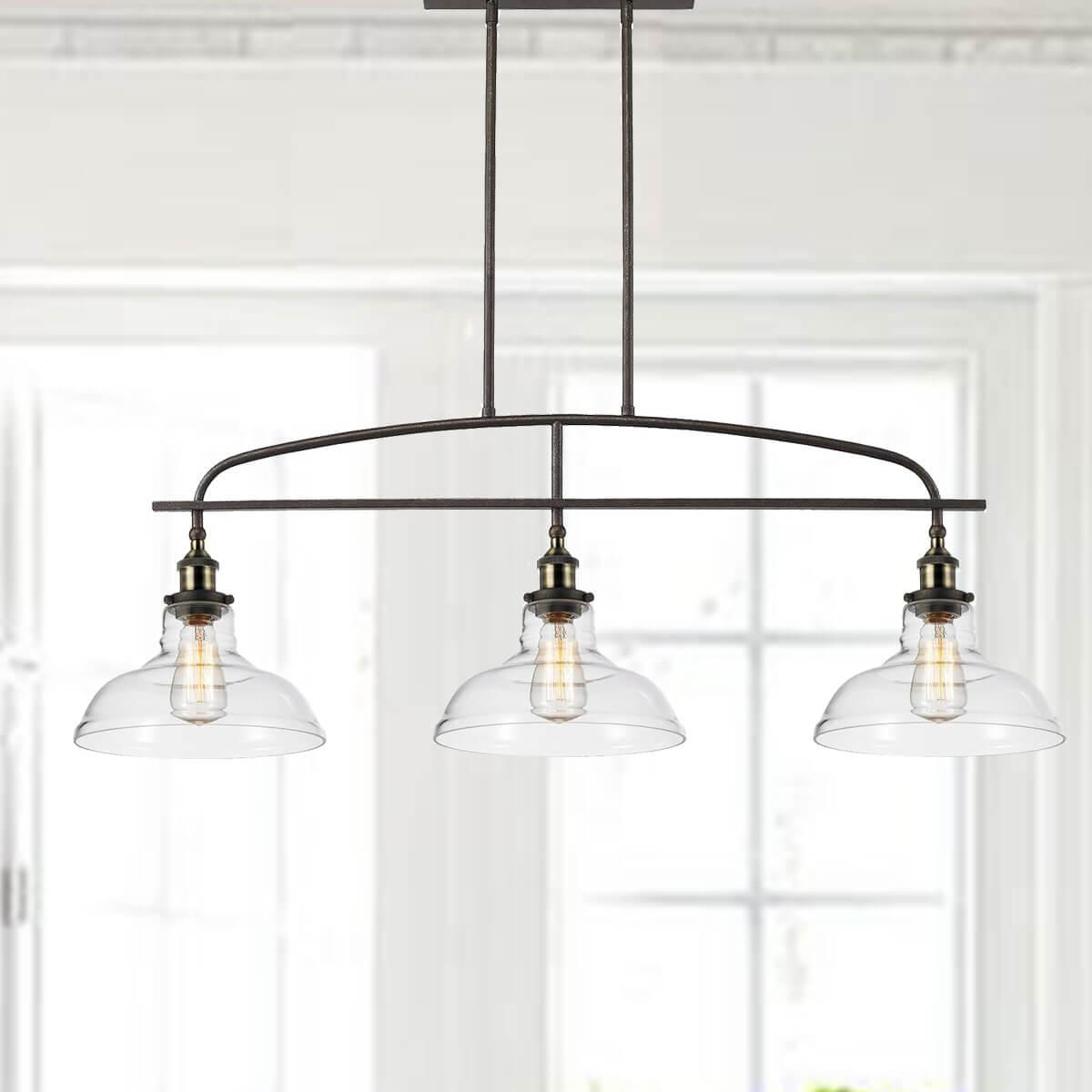 3-Light Glass Kitchen Linear Island Pendant Lighting