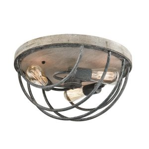 3 Light Vintage Flush Mount Ceiling Lights Distressed Wooden Mycete Metal Finish
