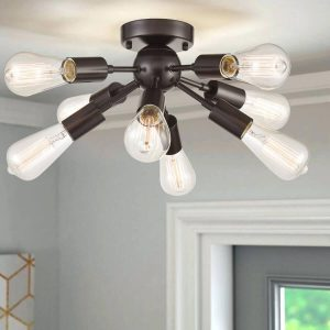 8-Light Sputnik Semi-Flush Ceiling Lights, Oil Rubbed Bronze