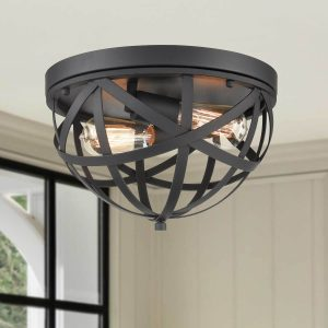 Black Metal Dome Flush Mount Ceiling light fixture