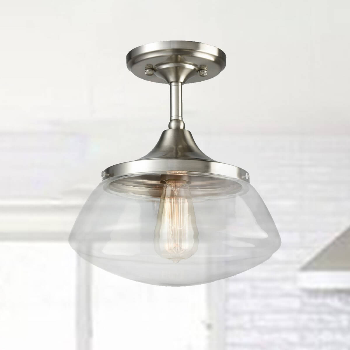 Brushed Nickel Clear Glass Schoolhouse Semi Flush Mount Ceiling Light
