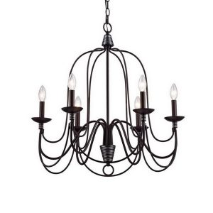 Candle Rustic Chandeliers 6-Light Oil Rubbed Bronze Iron Lights