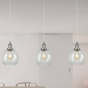 Clear Modern Globe Glass Kitchen Island Pendant Lighting Fixtures