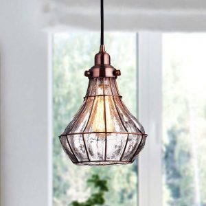 Cracked Glass Wire Cage Pendant Light, Red Antique Copper