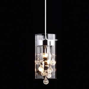 Crystal Modern Pendant lighting Glass Cylinder & Bubble Crystal