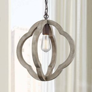 Distressed Weathered Wooden Globe Pendant Lighting