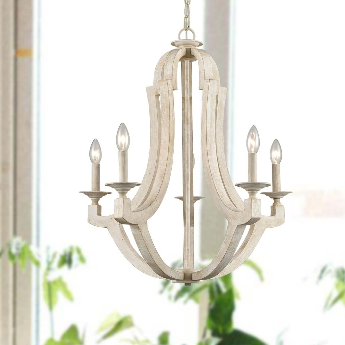 Distressing Off-white Country Wooden Candelabra Chandeliers 5-Light