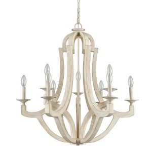 Distressing Off-white Country Wooden Candelabra Chandeliers 9-Light