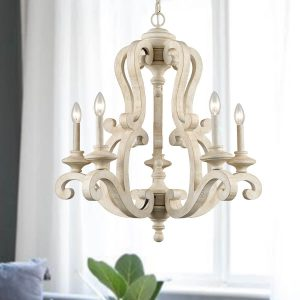 Distressing Off-white Farmhouse Wooden Candelabra Chandeliers 5-Light