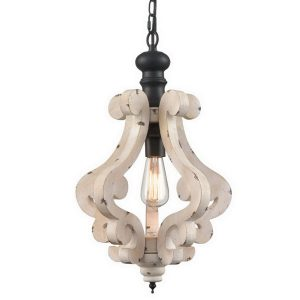 Distressing White Finish Farmhouse Wooden Pendant Light