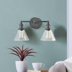Double Cone Glass Shade Plug-In Wall Sconce with Switch