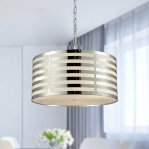 Drum Modern Pendant Lighting Kitchen Chrome Finish