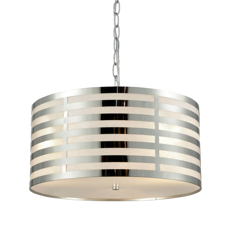 Drum Modern Pendant Lighting Kitchen Chrome Finish