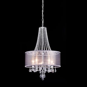Fabric Chrome Crystal Candelabra Drum Modern Chandeliers