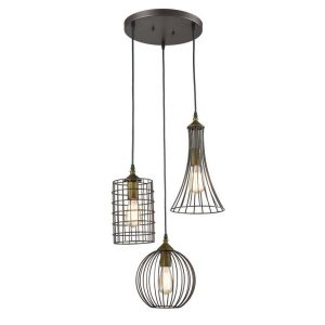 Farmhouse 3-Light Chandelier Hanging Caged Cluster Pendant