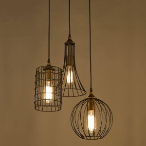 Farmhouse 3-Light Chandelier Hanging Caged Cluster Pendant