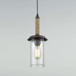 Farmhouse Mini Glass Pendant Lights with Hemp Rope
