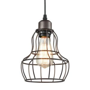 Farmhouse Mini Hanging Wire Cage Pendant Light