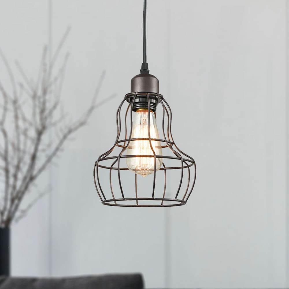 Farmhouse Mini Hanging Wire Cage Pendant Light