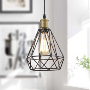 Farmhouse Polygon Wire Pendant Light, Orb Finish