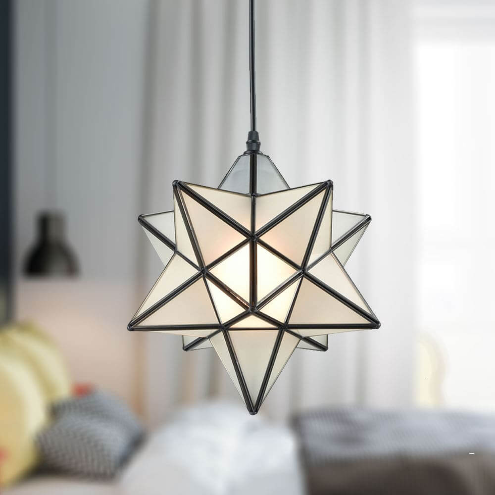 Frosted Glass Moravian Star Pendant Light Chandelier, 12''