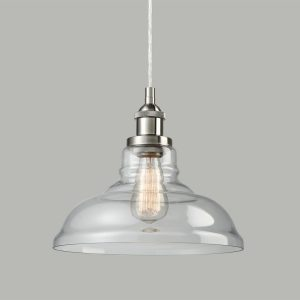 Glass Brushed Nickel Industrial kitchen island pendant lighting