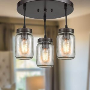 Glass Mason Jar Industrial Ceiling Lights for Kitchen Bronze