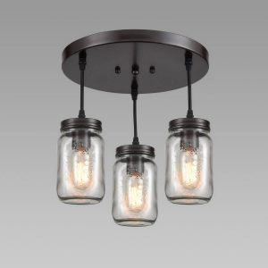 Industrial Mason Jar Semi Flush Ceiling Light Bronze Finish 3-Light