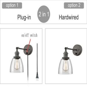 Glass Wall Sconce Rustic Mycete Hardwired & Plug-in Wall Light-2 Pack