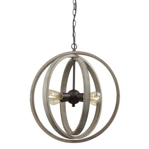 Globe Metal Rustic Wood Chandeliers for Dining Room with 4 Lights