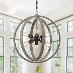 Globe Metal Rustic Wood Dining Room chandeliers with 6 Lights