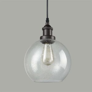 Globe Seeded Glass Pendant Lights, Oil Rubbed Bronze