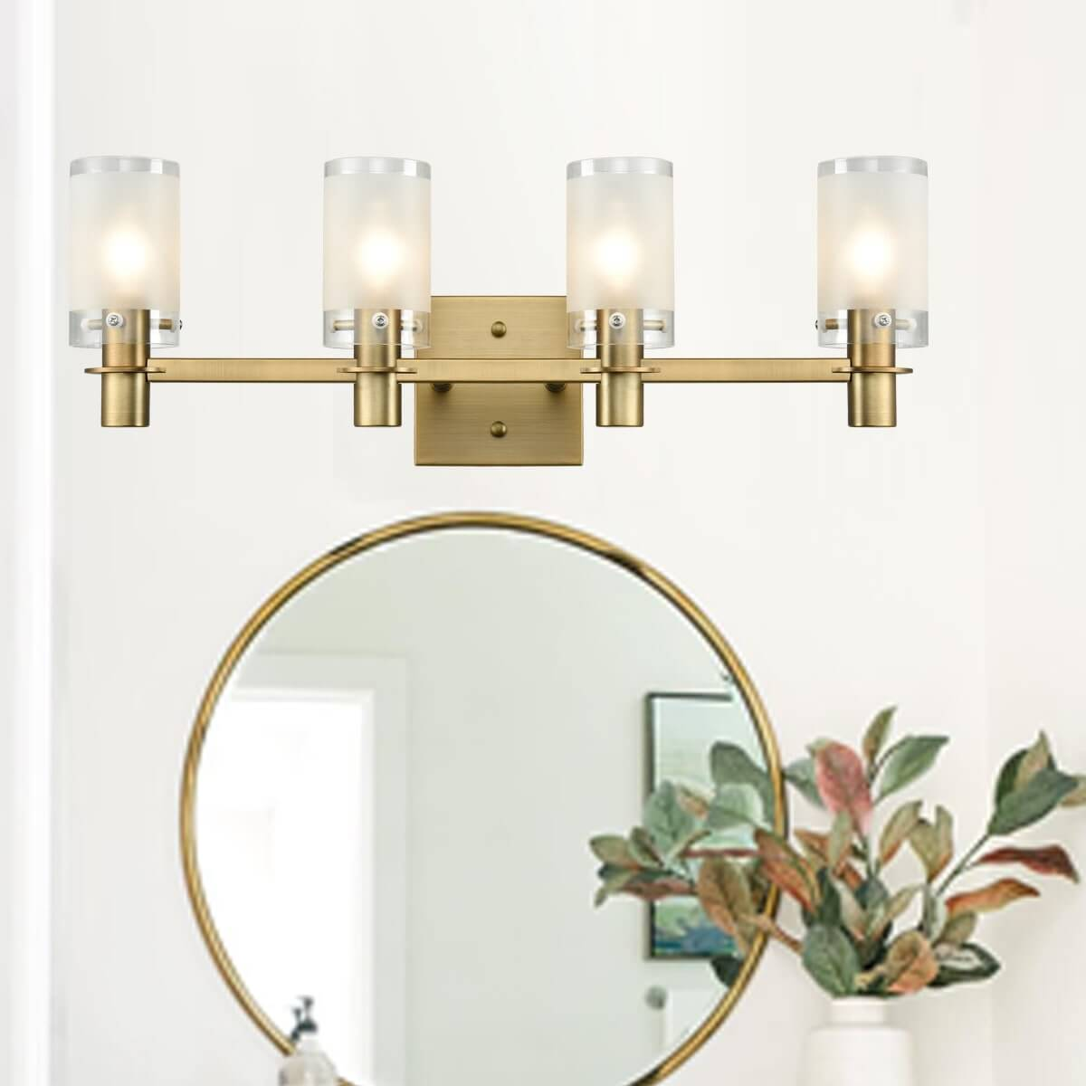 Modern Brass Bathroom Vanity Lighting with Frosted Glass – 4 Light