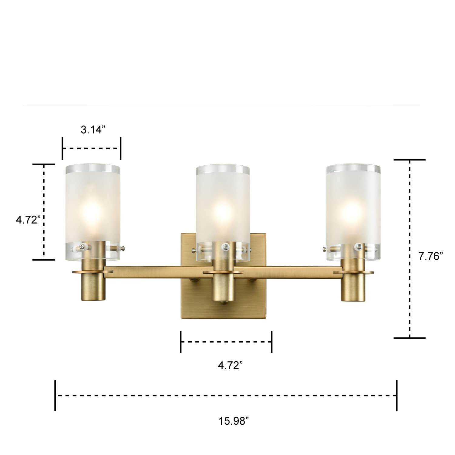 Gold Rustic Bathroom Wall Sconces 3 Light with Frosted Glass Shade