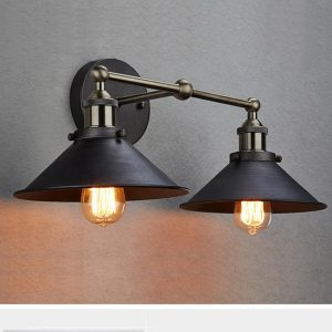 Industrial 2-Light Bronze Bath Wall Sconces
