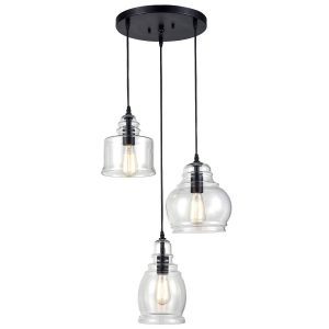 Industrial Clear Glass Jar 3-Light Kitchen Island Pendant Lighting