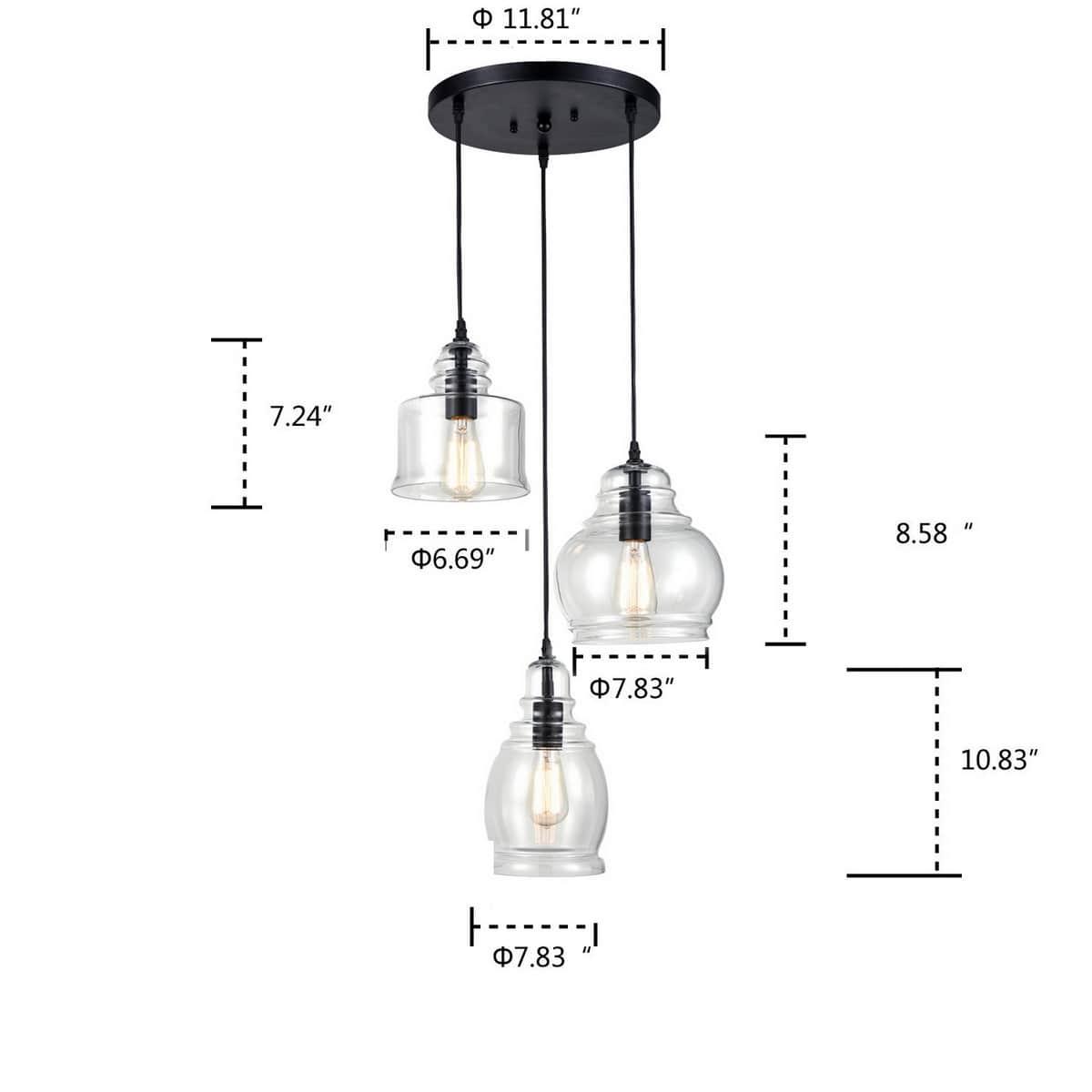 Industrial Clear Glass Jar 3-Light Kitchen Island Pendant Lighting
