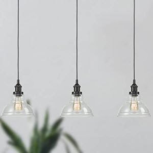 Industrial Clear Glass Kitchen Island Pendant Lighting Fixtures