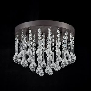 Industrial Crystal Flush Mount Ceiling Lights Oil Rubbed Bronze Finish