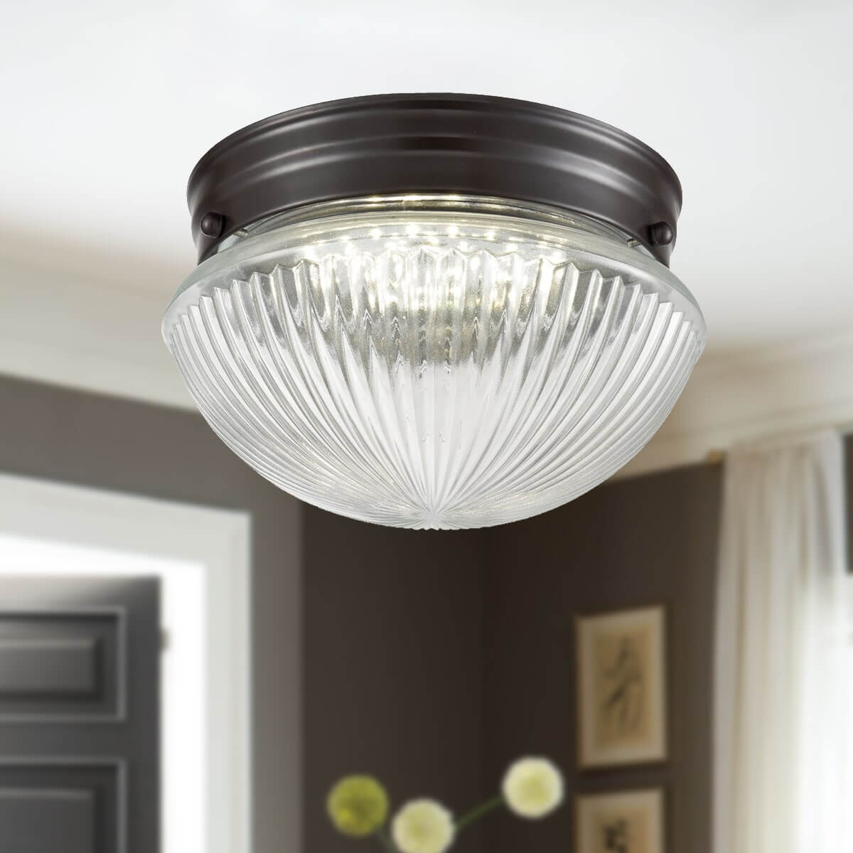 Industrial Flush Mount Led Ceiling Lights With Clear Glass