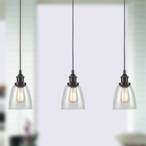 Industrial Glass Bronze Kitchen Island Pendant Lighting