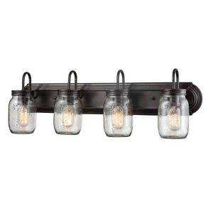 Industrial Glass Mason Jar Bathroom Wall Sconces 4 Light