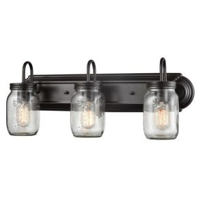 Industrial Glass Mason Jar Bathroom Wall Sconces Bronze