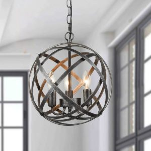 Industrial Grey Circular Cage Globe Metal Modern Chandelier with 3 Lights