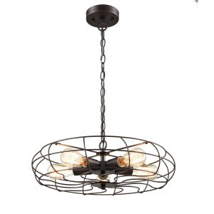 Industrial Large Orb Metal Pendant Lights with Chain, 5 Lights